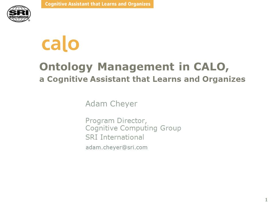 2 Abstract CALO is one of DARPA s most ambitious efforts to develop a persistent assistant that lives with, learns from, and supports users in managing the complexities of their daily work lives.