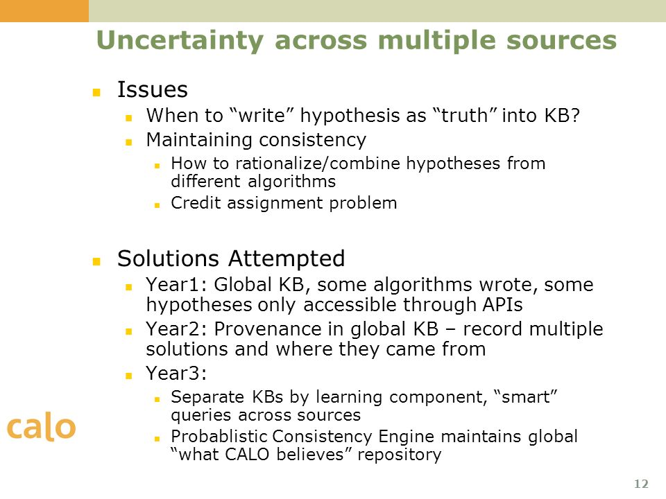 12 Uncertainty across multiple sources Issues When to write hypothesis as truth into KB.