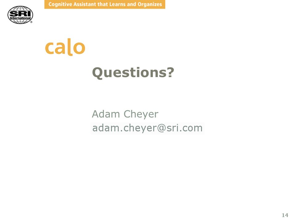 14 Questions? Adam Cheyer