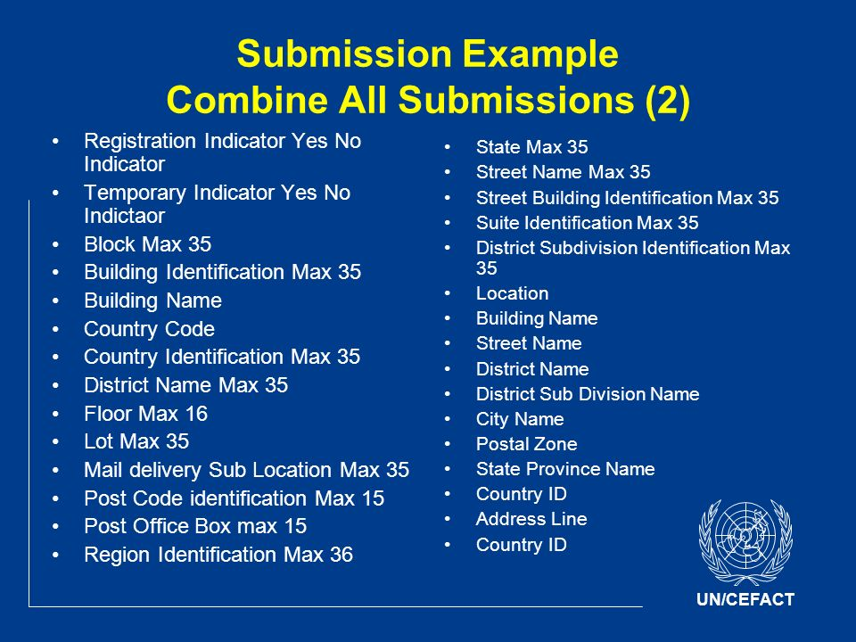 UN/CEFACT Submission Example Combine All Submissions (2) Registration Indicator Yes No Indicator Temporary Indicator Yes No Indictaor Block Max 35 Building Identification Max 35 Building Name Country Code Country Identification Max 35 District Name Max 35 Floor Max 16 Lot Max 35 Mail delivery Sub Location Max 35 Post Code identification Max 15 Post Office Box max 15 Region Identification Max 36 State Max 35 Street Name Max 35 Street Building Identification Max 35 Suite Identification Max 35 District Subdivision Identification Max 35 Location Building Name Street Name District Name District Sub Division Name City Name Postal Zone State Province Name Country ID Address Line Country ID
