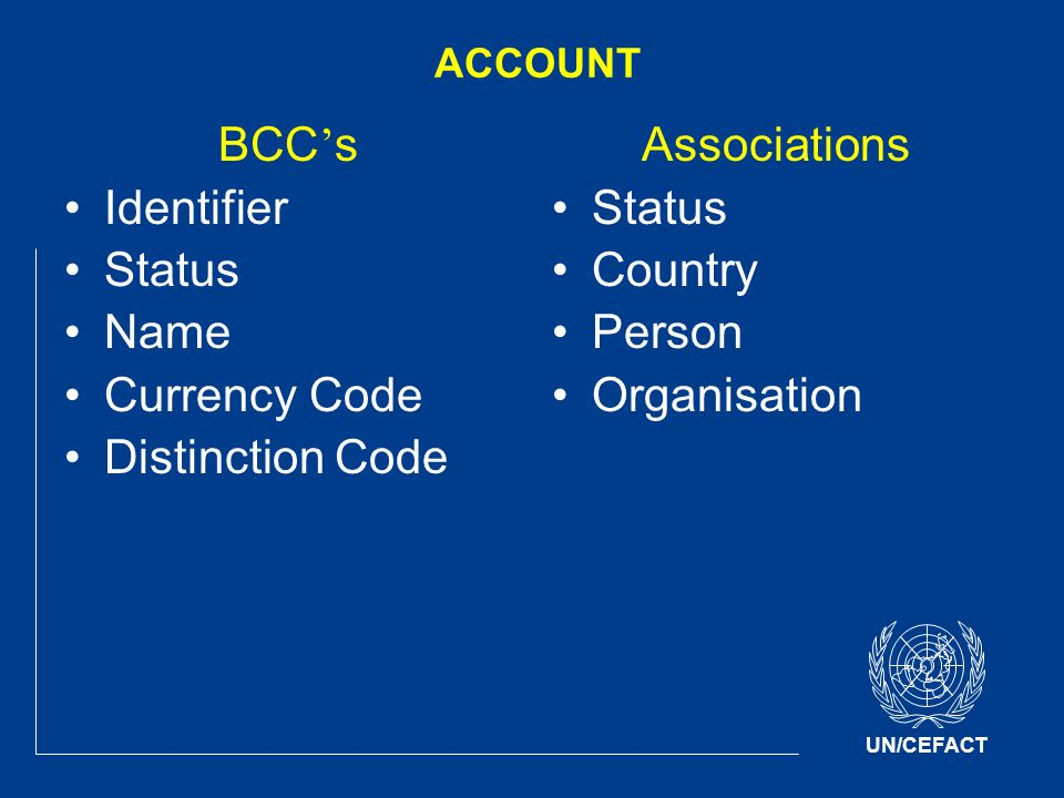 UN/CEFACT ACCOUNT BCC s Identifier Status Name Currency Code Distinction Code Associations Status Country Person Organisation