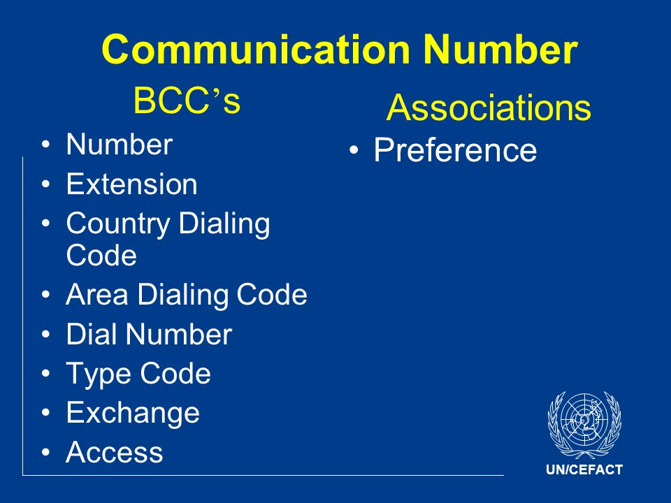 UN/CEFACT Communication Number BCC s Number Extension Country Dialing Code Area Dialing Code Dial Number Type Code Exchange Access Associations Preference