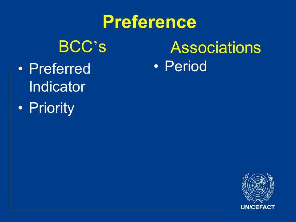 UN/CEFACT Preference BCC s Preferred Indicator Priority Associations Period