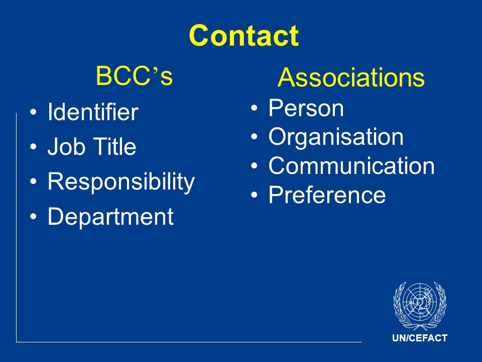 UN/CEFACT Contact BCC s Identifier Job Title Responsibility Department Associations Person Organisation Communication Preference