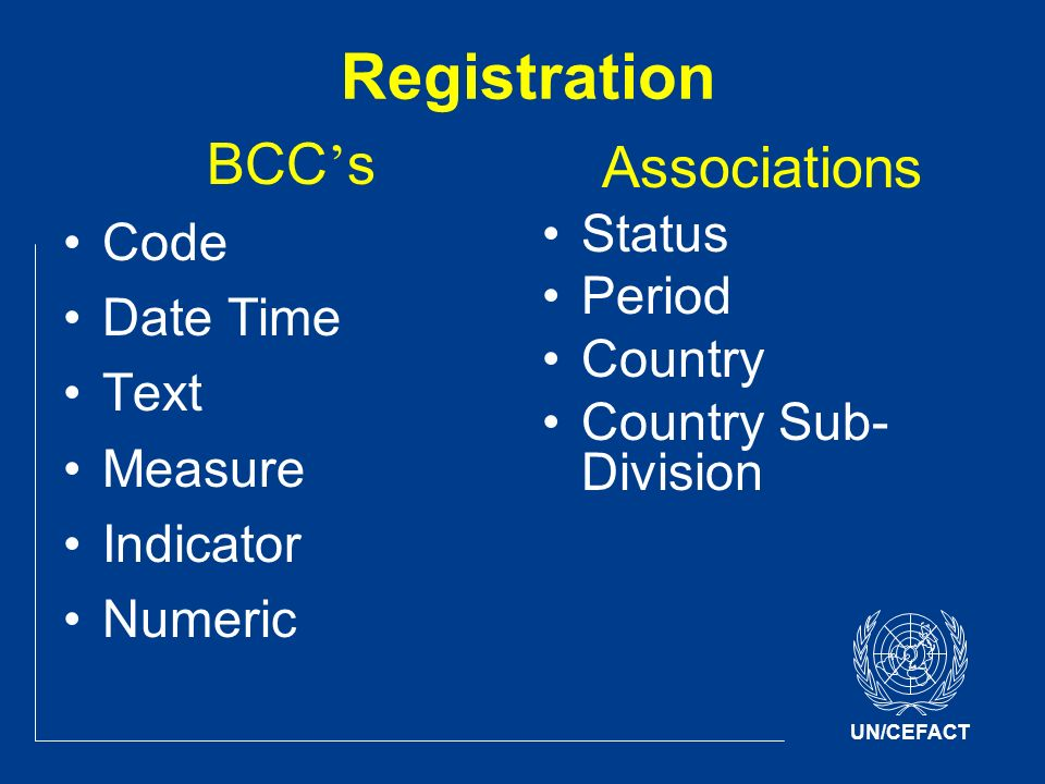 UN/CEFACT Registration BCC s Code Date Time Text Measure Indicator Numeric Associations Status Period Country Country Sub- Division