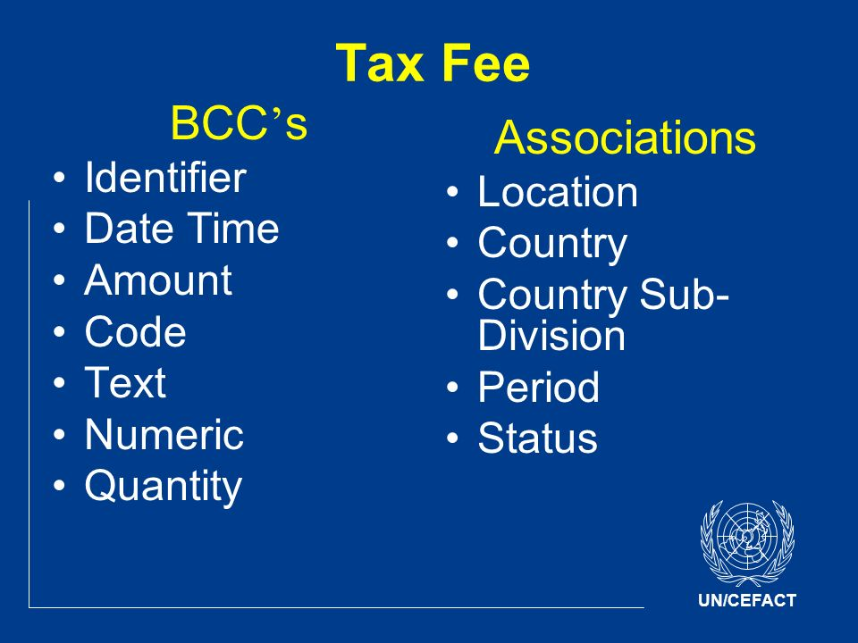 UN/CEFACT Tax Fee BCC s Identifier Date Time Amount Code Text Numeric Quantity Associations Location Country Country Sub- Division Period Status
