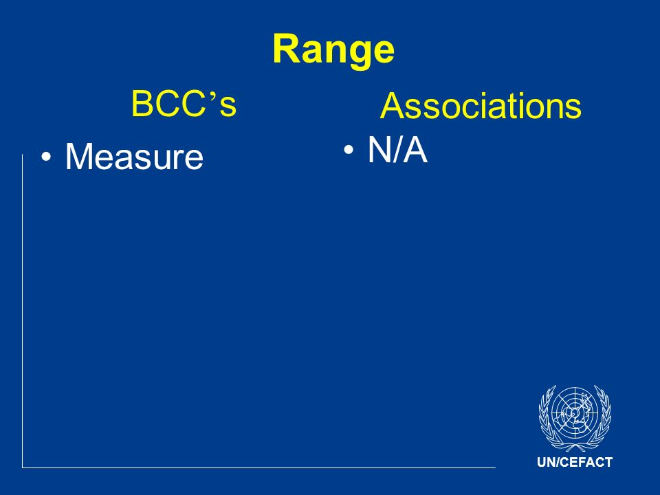 UN/CEFACT Range BCC s Measure Associations N/A