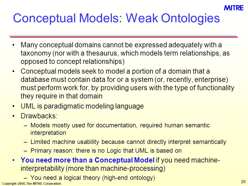 Copyright 2006, The MITRE Corporation 26 Conceptual Models: Weak Ontologies Many conceptual domains cannot be expressed adequately with a taxonomy (no