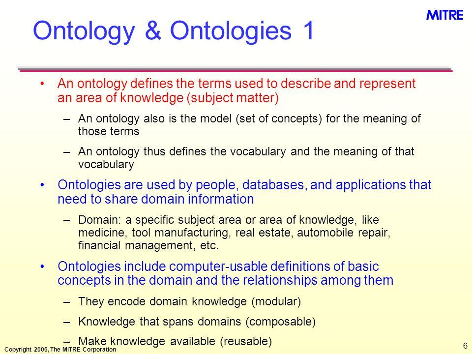 Copyright 2006, The MITRE Corporation 27 Conceptual Model: UML Example Human Resource Conceptual Model