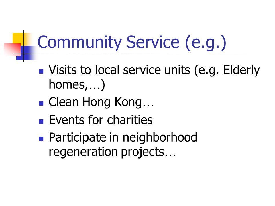 Community Service (e.g.) Visits to local service units (e.g.
