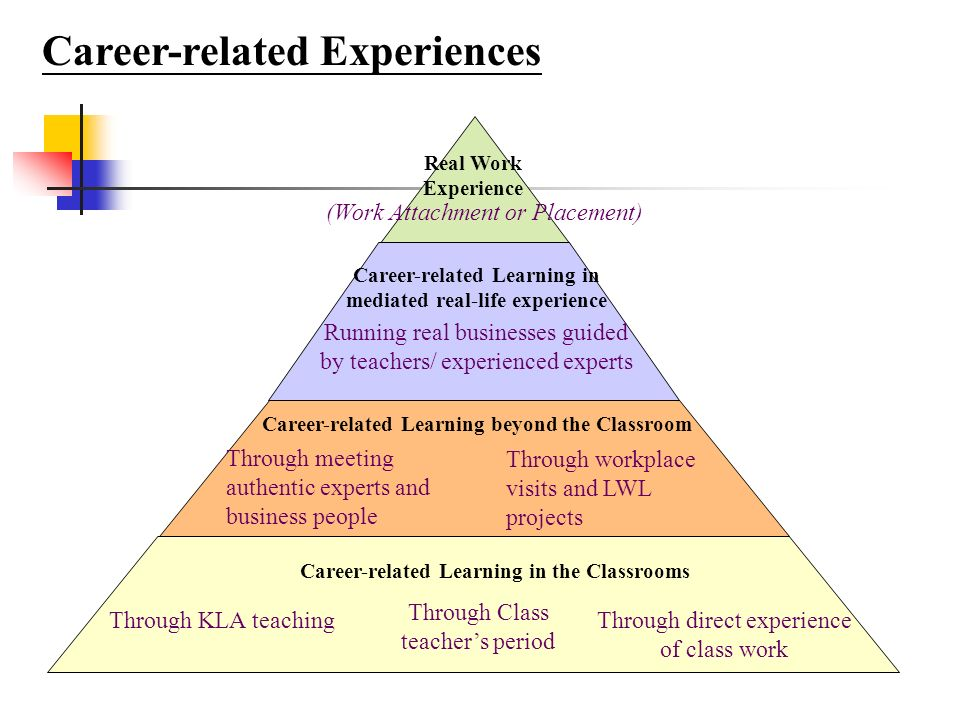 Career-related Experiences Career-related Learning in the Classrooms Through KLA teaching Through Class teachers period Through direct experience of class work Career-related Learning beyond the Classroom Through workplace visits and LWL projects Through meeting authentic experts and business people Career-related Learning in mediated real-life experience Running real businesses guided by teachers/ experienced experts Real Work Experience (Work Attachment or Placement)