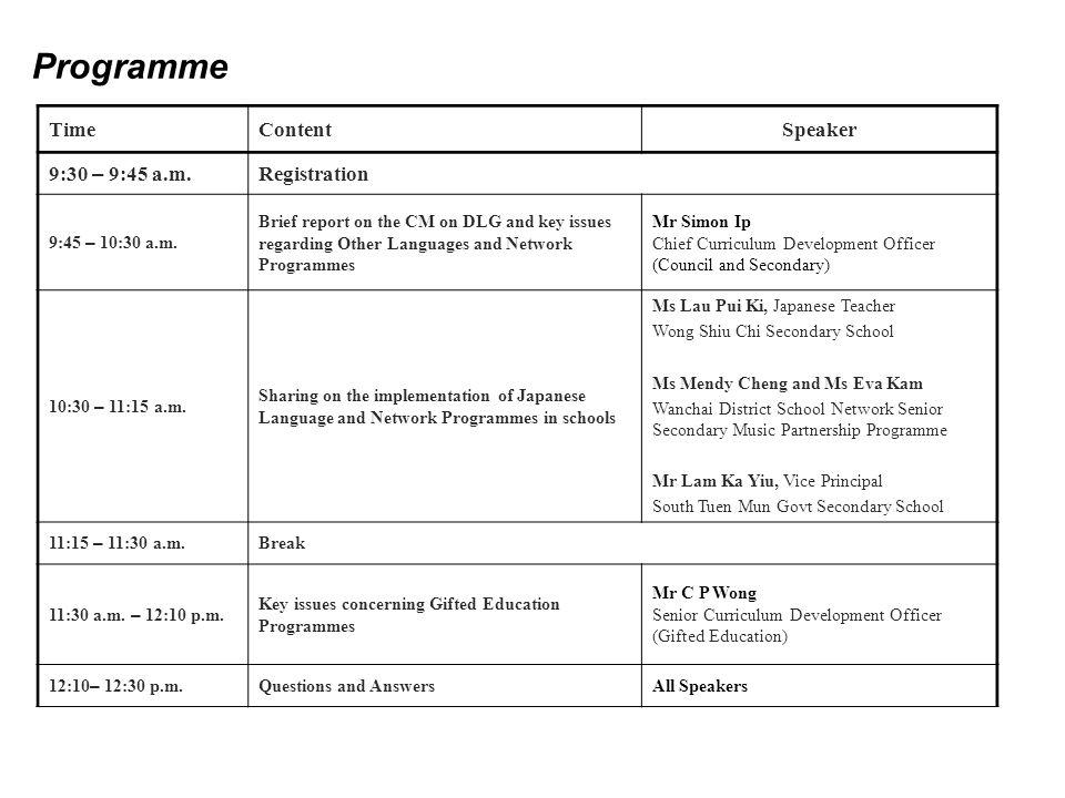 Programme TimeContentSpeaker 9:30 – 9:45 a.m. Registration 9:45 – 10:30 a.m.