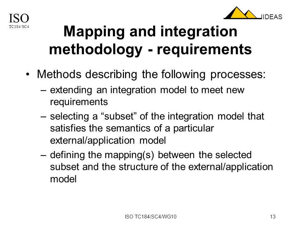 ISO TC184/SC4 IIDEAS ISO TC184/SC4/WG1013 Mapping and integration methodology - requirements Methods describing the following processes: –extending an integration model to meet new requirements –selecting a subset of the integration model that satisfies the semantics of a particular external/application model –defining the mapping(s) between the selected subset and the structure of the external/application model