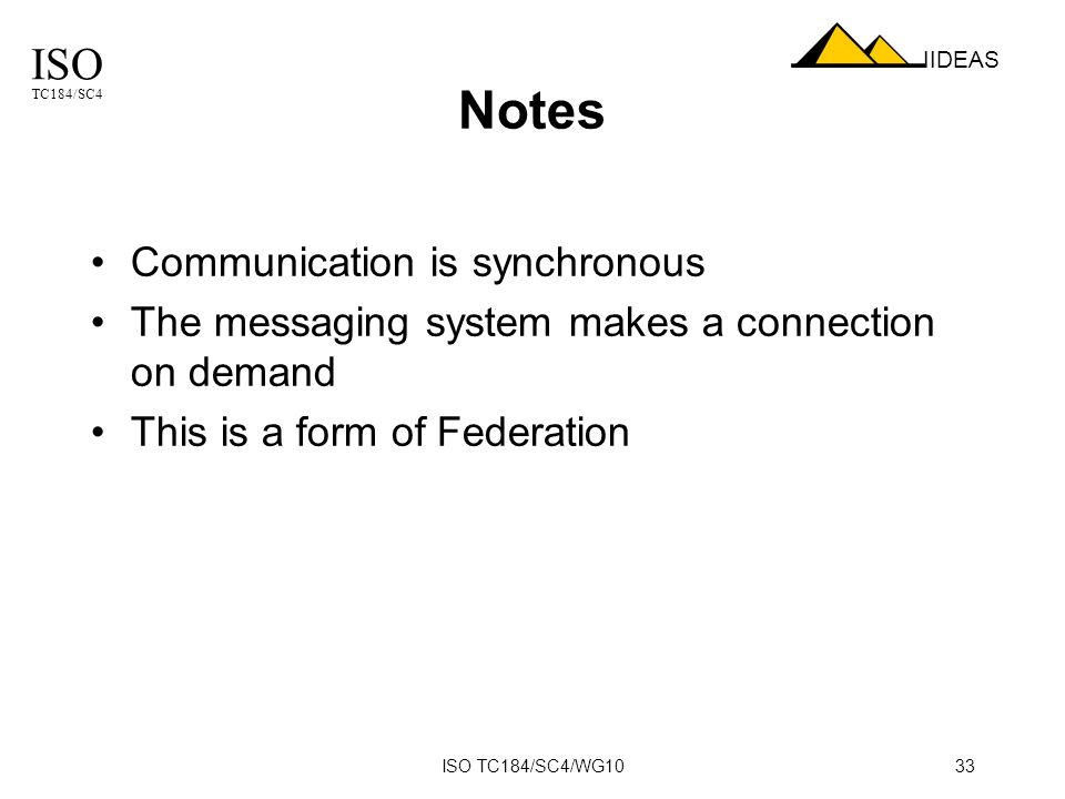 ISO TC184/SC4 IIDEAS ISO TC184/SC4/WG1033 Notes Communication is synchronous The messaging system makes a connection on demand This is a form of Federation