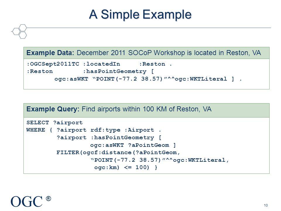 OGC ® A Simple Example :OGCSept2011TC:locatedIn :Reston. :Reston:hasPointGeometry [ ogc:asWKT POINT(-77.2 38.57)^^ogc:WKTLiteral ]. Example Data: Dece