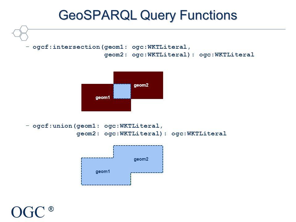 OGC ® GeoSPARQL Query Functions –ogcf:intersection(geom1: ogc:WKTLiteral, geom2: ogc:WKTLiteral): ogc:WKTLiteral –ogcf:union(geom1: ogc:WKTLiteral, ge