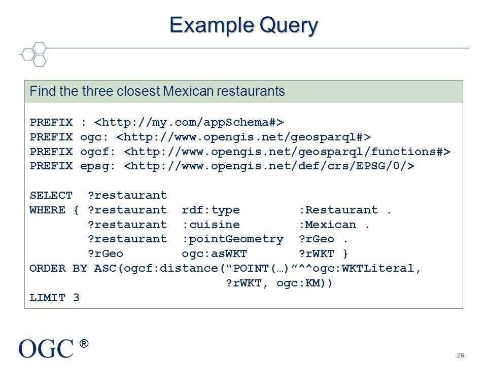 OGC ® PREFIX : PREFIX ogc: PREFIX ogcf: PREFIX epsg: SELECT ?restaurant WHERE { ?restaurant rdf:type :Restaurant. ?restaurant :cuisine :Mexican. ?rest