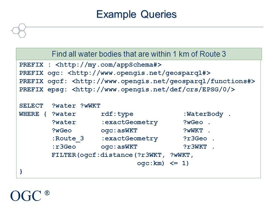 OGC ® Example Queries PREFIX : PREFIX ogc: PREFIX ogcf: PREFIX epsg: SELECT ?water ?wWKT WHERE { ?water rdf:type :WaterBody. ?water:exactGeometry ?wGe
