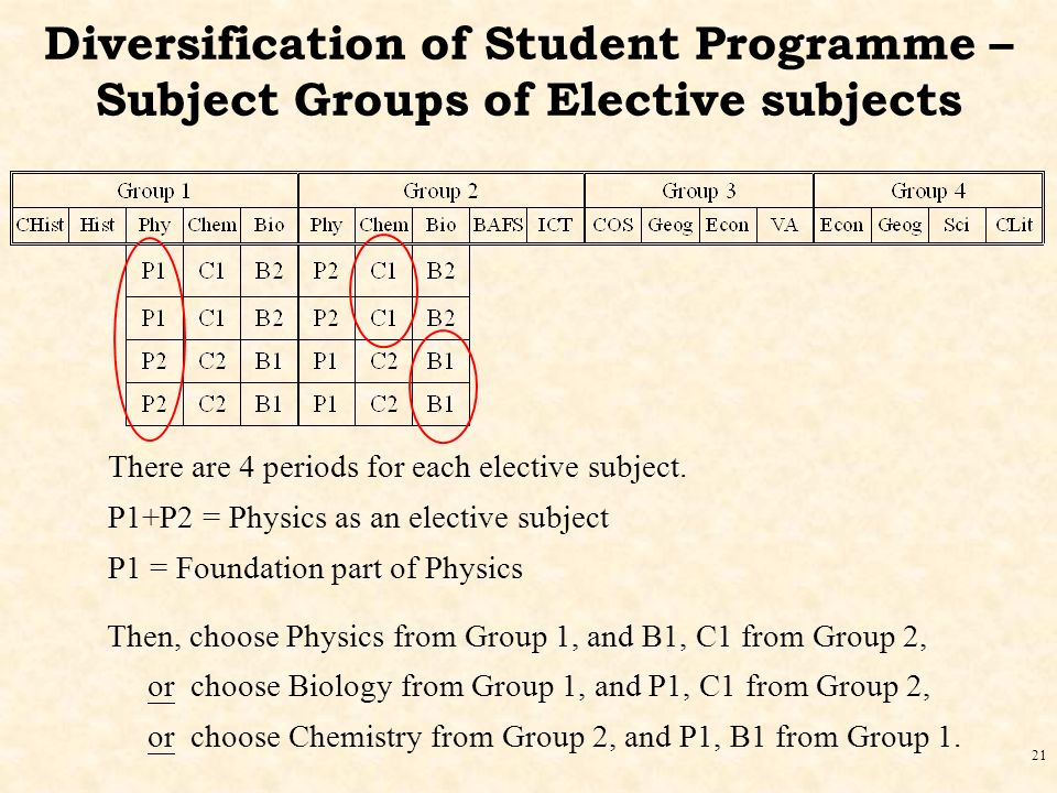 21 Diversification of Student Programme – Subject Groups of Elective subjects There are 4 periods for each elective subject.