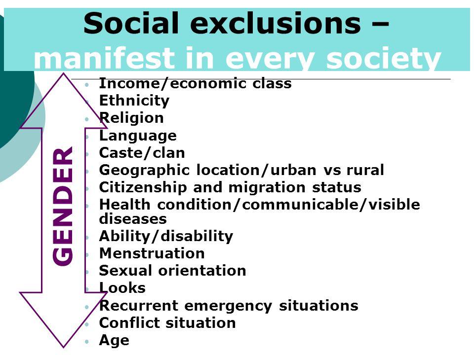 Income/economic class Ethnicity Religion Language Caste/clan Geographic location/urban vs rural Citizenship and migration status Health condition/comm