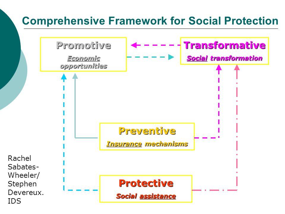 Protective Social assistance Preventive Insurance mechanisms Promotive Economic opportunities Transformative Social transformation Comprehensive Frame