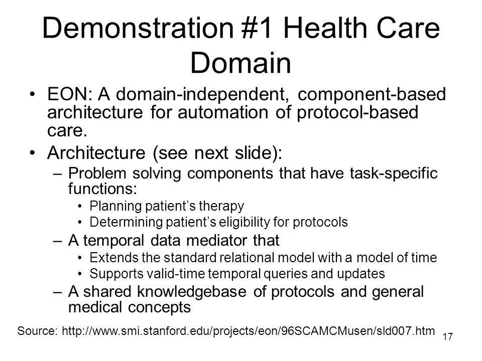 17 Demonstration #1 Health Care Domain EON: A domain-independent, component-based architecture for automation of protocol-based care. Architecture (se