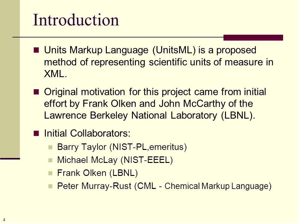 5 Introduction NIST UnitsML Committee Bob Dragoset (PL) Simon Frechette (MEL) Mark Carlisle (MEL) Peter Linstrom (CSTL) Gary Kramer (CSTL) Martin Weber (PL – NIST Associate) Kent Reed (BFRL) Evan Wallace (MEL) Karen Olsen (PL) Several NIST Associates (CSTL, PL, BFRL) Funded in part by NIST s Systems Integration for Manufacturing Applications (SIMA) program.