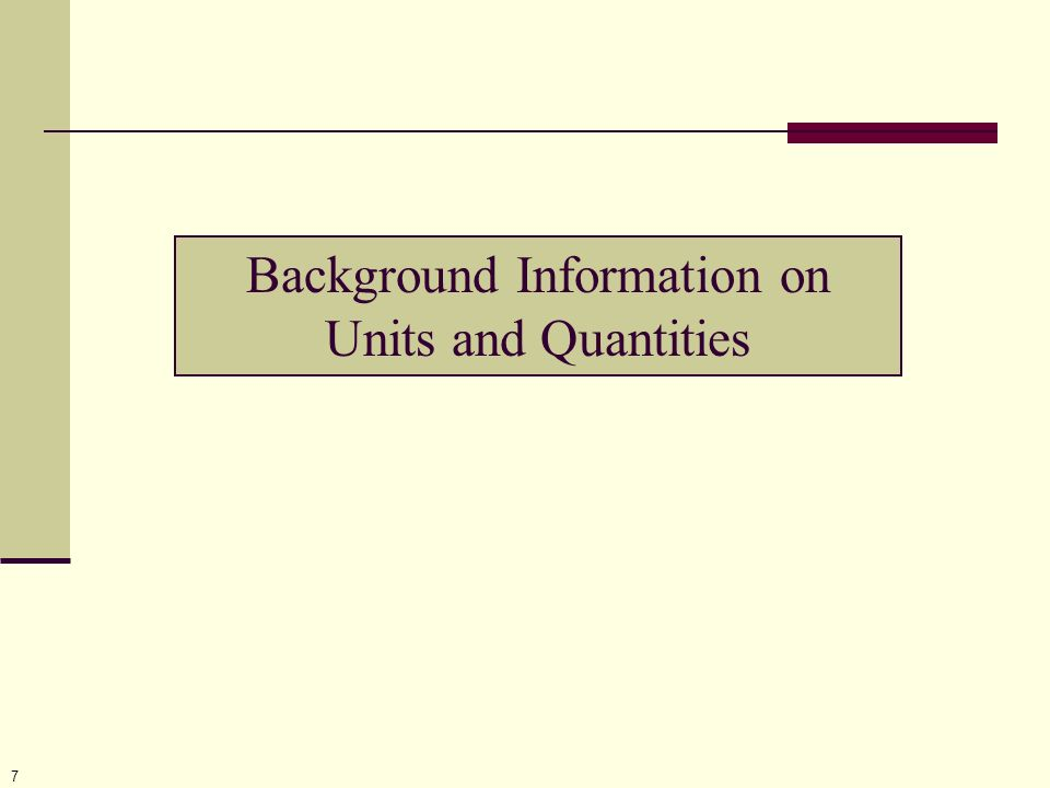7 Background Information on Units and Quantities