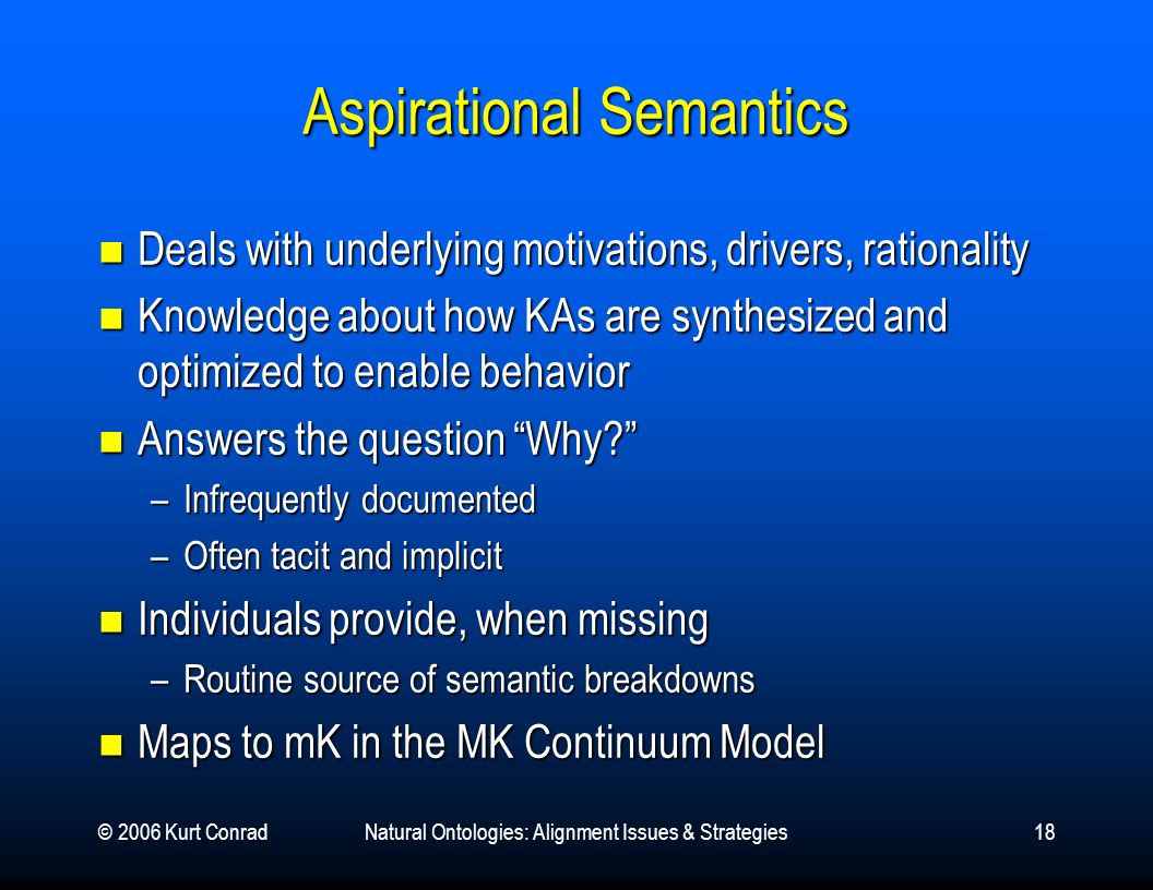 © 2006 Kurt ConradNatural Ontologies: Alignment Issues & Strategies18 Aspirational Semantics Deals with underlying motivations, drivers, rationality Deals with underlying motivations, drivers, rationality Knowledge about how KAs are synthesized and optimized to enable behavior Knowledge about how KAs are synthesized and optimized to enable behavior Answers the question Why.