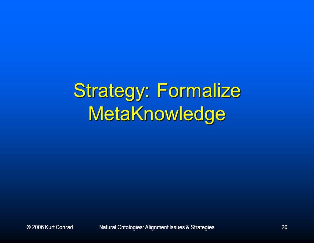 © 2006 Kurt ConradNatural Ontologies: Alignment Issues & Strategies20 Strategy: Formalize MetaKnowledge
