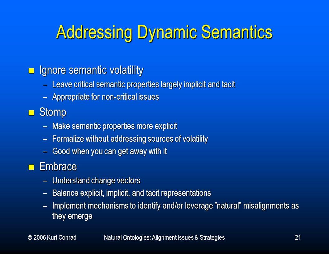 © 2006 Kurt ConradNatural Ontologies: Alignment Issues & Strategies21 Addressing Dynamic Semantics Ignore semantic volatility Ignore semantic volatili