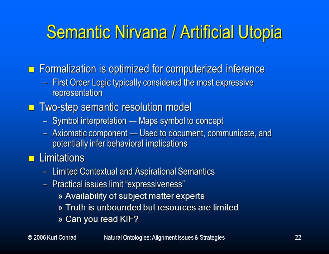 © 2006 Kurt ConradNatural Ontologies: Alignment Issues & Strategies22 Semantic Nirvana / Artificial Utopia Formalization is optimized for computerized
