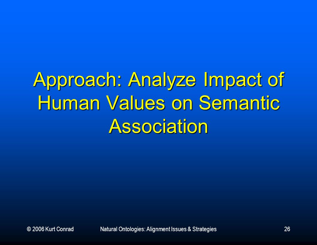 © 2006 Kurt ConradNatural Ontologies: Alignment Issues & Strategies26 Approach: Analyze Impact of Human Values on Semantic Association