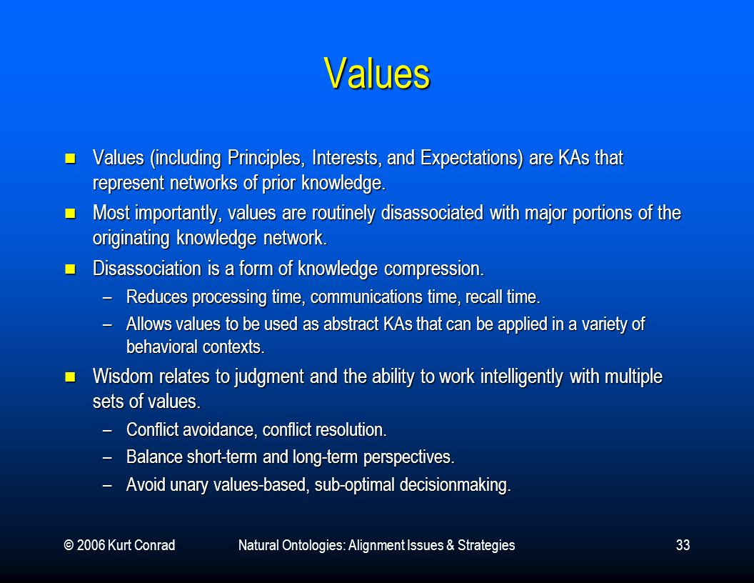 © 2006 Kurt ConradNatural Ontologies: Alignment Issues & Strategies33 Values Values (including Principles, Interests, and Expectations) are KAs that r