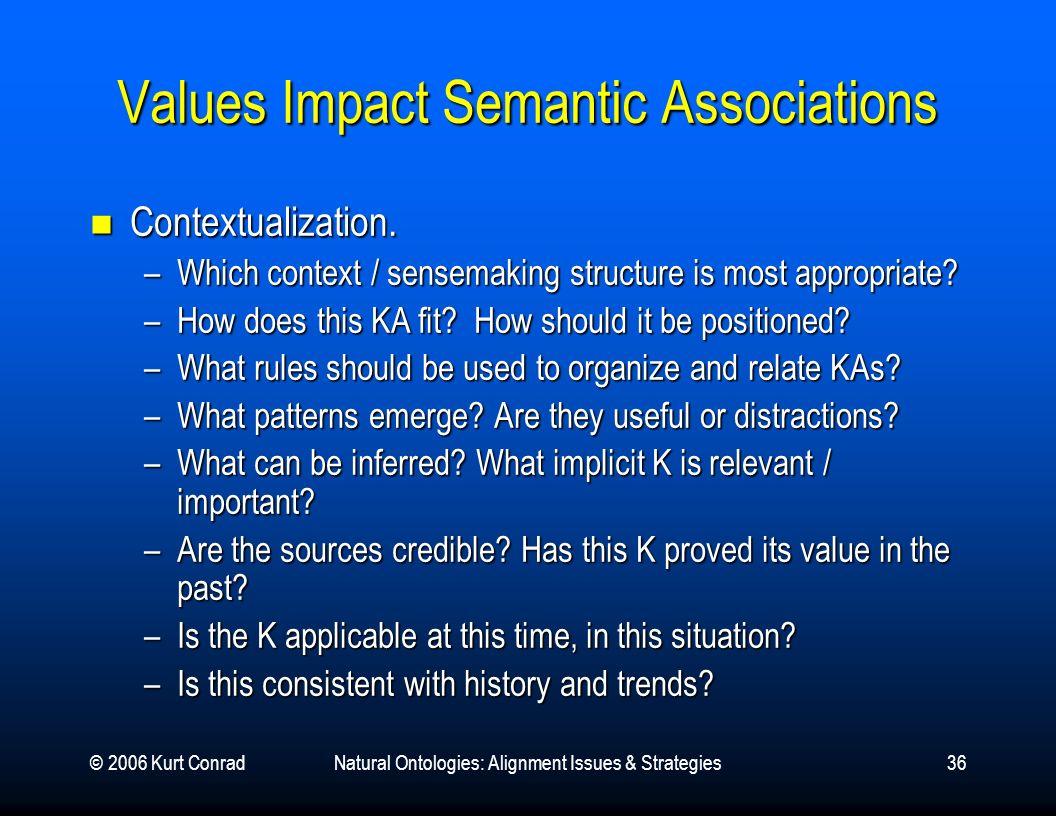 © 2006 Kurt ConradNatural Ontologies: Alignment Issues & Strategies36 Values Impact Semantic Associations Contextualization. Contextualization. –Which