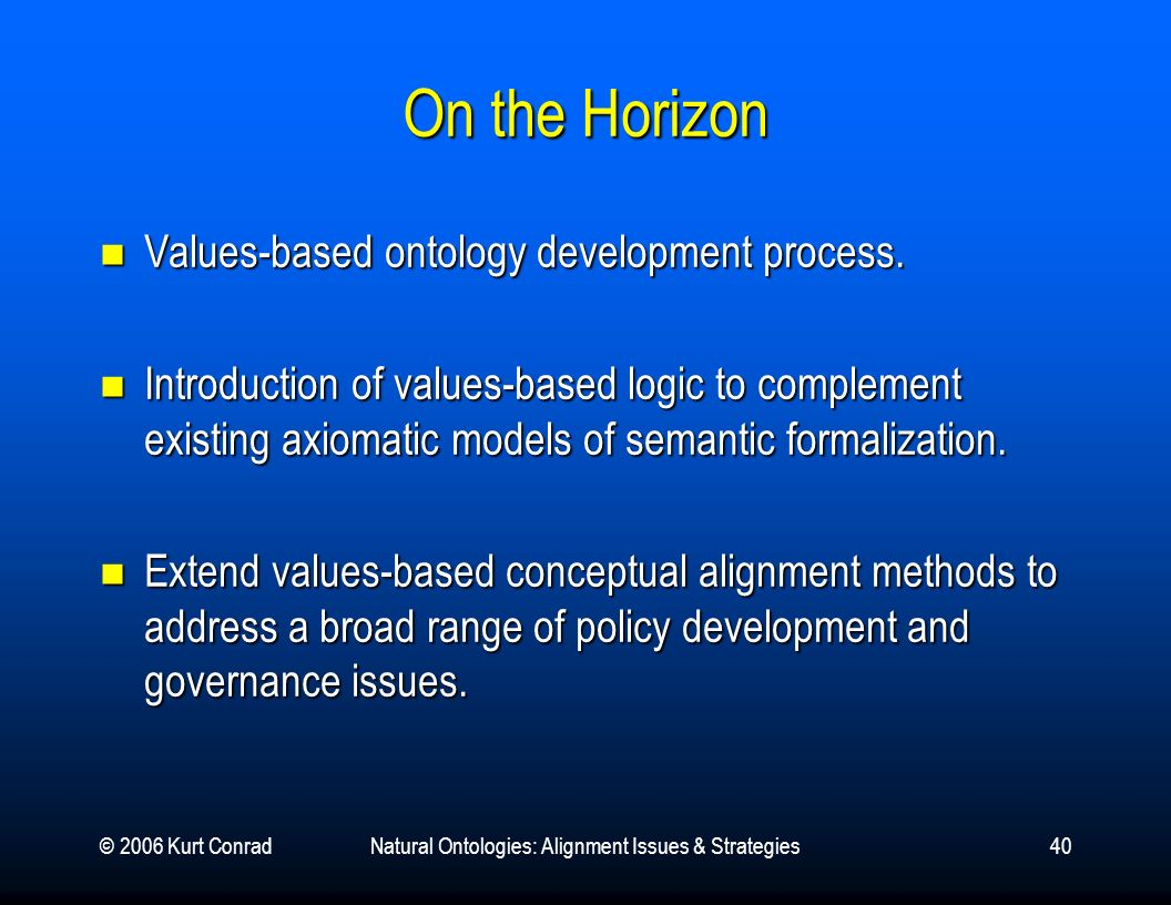 © 2006 Kurt ConradNatural Ontologies: Alignment Issues & Strategies40 On the Horizon Values-based ontology development process.
