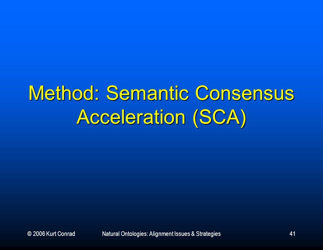 © 2006 Kurt ConradNatural Ontologies: Alignment Issues & Strategies41 Method: Semantic Consensus Acceleration (SCA)