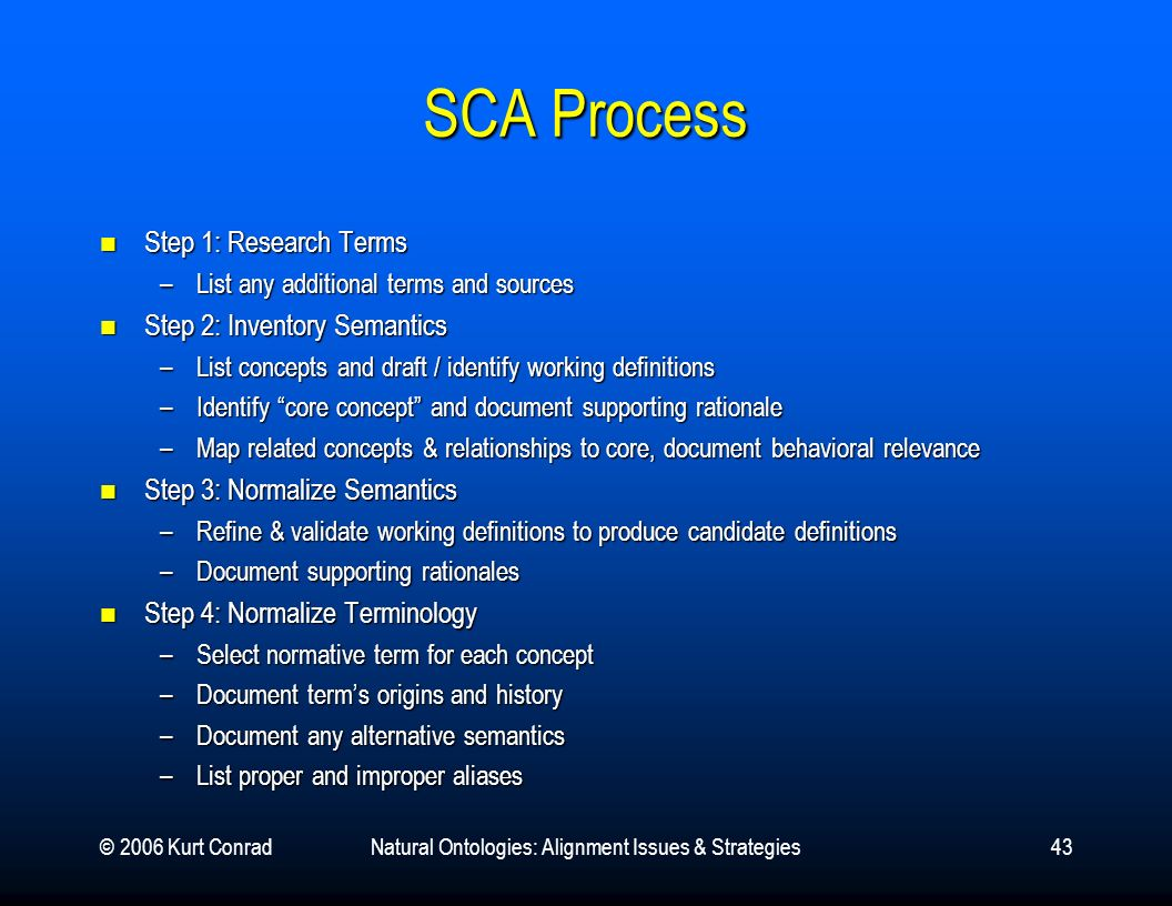 © 2006 Kurt ConradNatural Ontologies: Alignment Issues & Strategies43 SCA Process Step 1: Research Terms Step 1: Research Terms –List any additional t