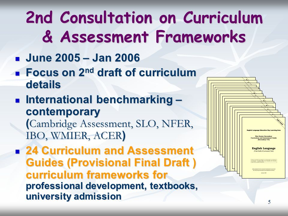 5 2nd Consultation on Curriculum & Assessment Frameworks June 2005 – Jan 2006 June 2005 – Jan 2006 Focus on 2 nd draft of curriculum details Focus on 2 nd draft of curriculum details International benchmarking – contemporary ( Cambridge Assessment, SLO, NFER, IBO, WMIER, ACER ) International benchmarking – contemporary ( Cambridge Assessment, SLO, NFER, IBO, WMIER, ACER ) 24 Curriculum and Assessment Guides (Provisional Final Draft ) curriculum frameworks for professional development, textbooks, university admission 24 Curriculum and Assessment Guides (Provisional Final Draft ) curriculum frameworks for professional development, textbooks, university admission