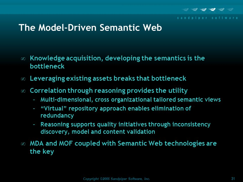 31 Copyright ©2005 Sandpiper Software, Inc. The Model-Driven Semantic Web Knowledge acquisition, developing the semantics is the bottleneck Leveraging