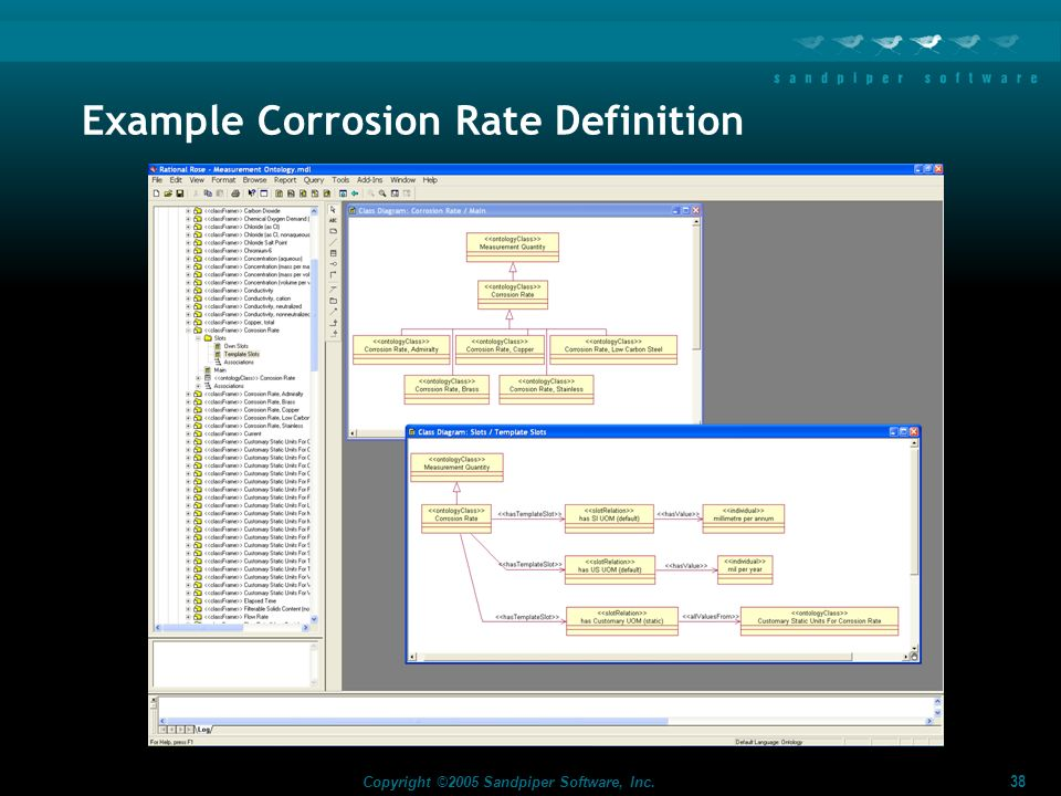 38 Copyright ©2005 Sandpiper Software, Inc. Example Corrosion Rate Definition