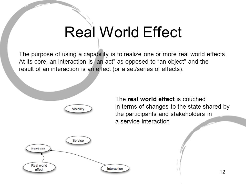 12 Real World Effect The purpose of using a capability is to realize one or more real world effects.
