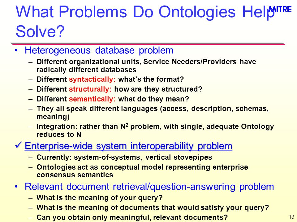 13 What Problems Do Ontologies Help Solve.