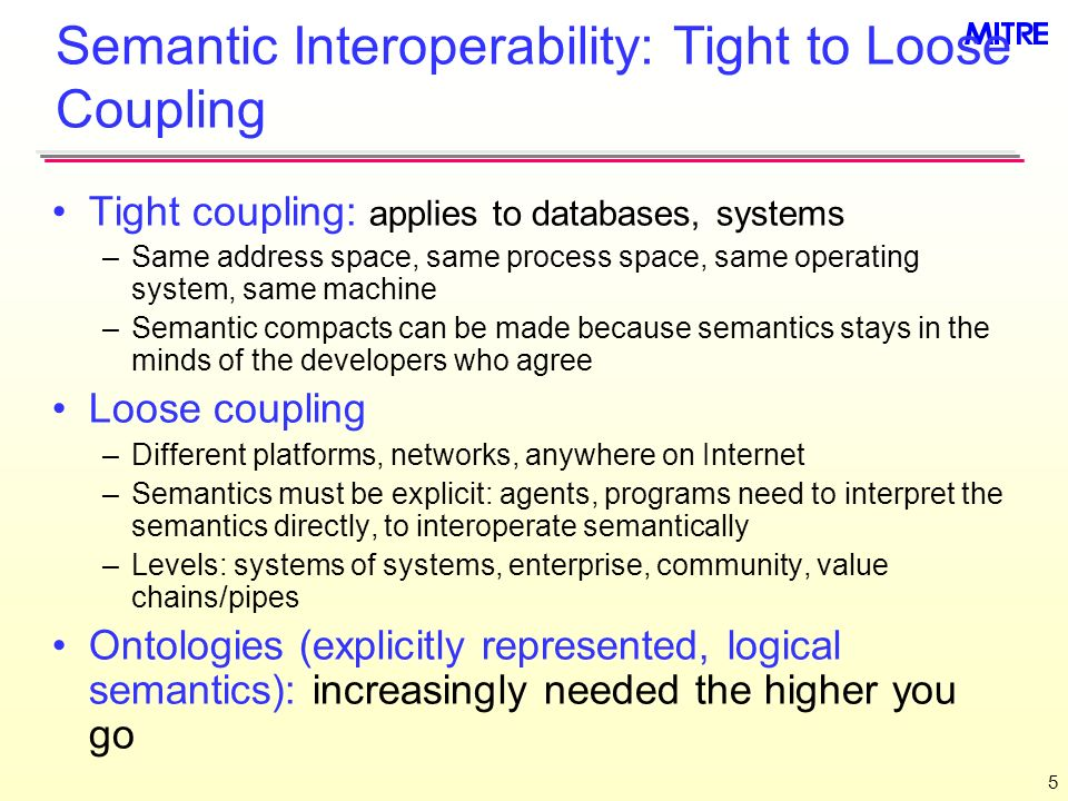 5 Semantic Interoperability: Tight to Loose Coupling Tight coupling: applies to databases, systems –Same address space, same process space, same operating system, same machine –Semantic compacts can be made because semantics stays in the minds of the developers who agree Loose coupling –Different platforms, networks, anywhere on Internet –Semantics must be explicit: agents, programs need to interpret the semantics directly, to interoperate semantically –Levels: systems of systems, enterprise, community, value chains/pipes Ontologies (explicitly represented, logical semantics): increasingly needed the higher you go