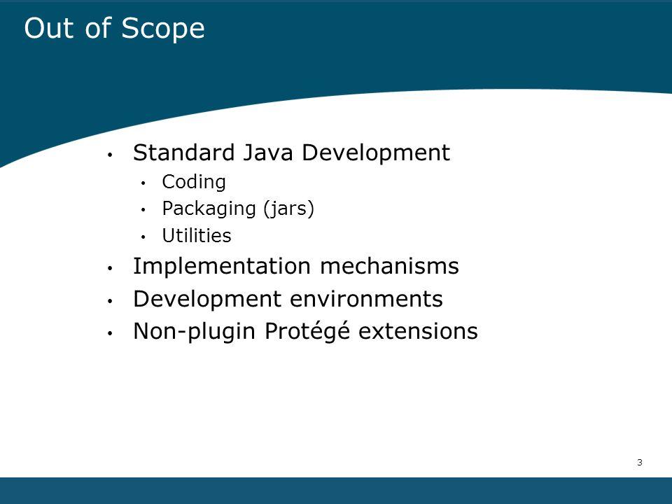 3 Out of Scope Standard Java Development Coding Packaging (jars) Utilities Implementation mechanisms Development environments Non-plugin Protégé extensions