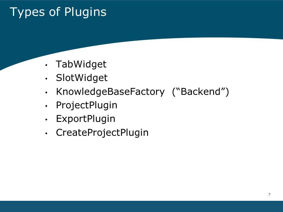7 Types of Plugins TabWidget SlotWidget KnowledgeBaseFactory (Backend) ProjectPlugin ExportPlugin CreateProjectPlugin