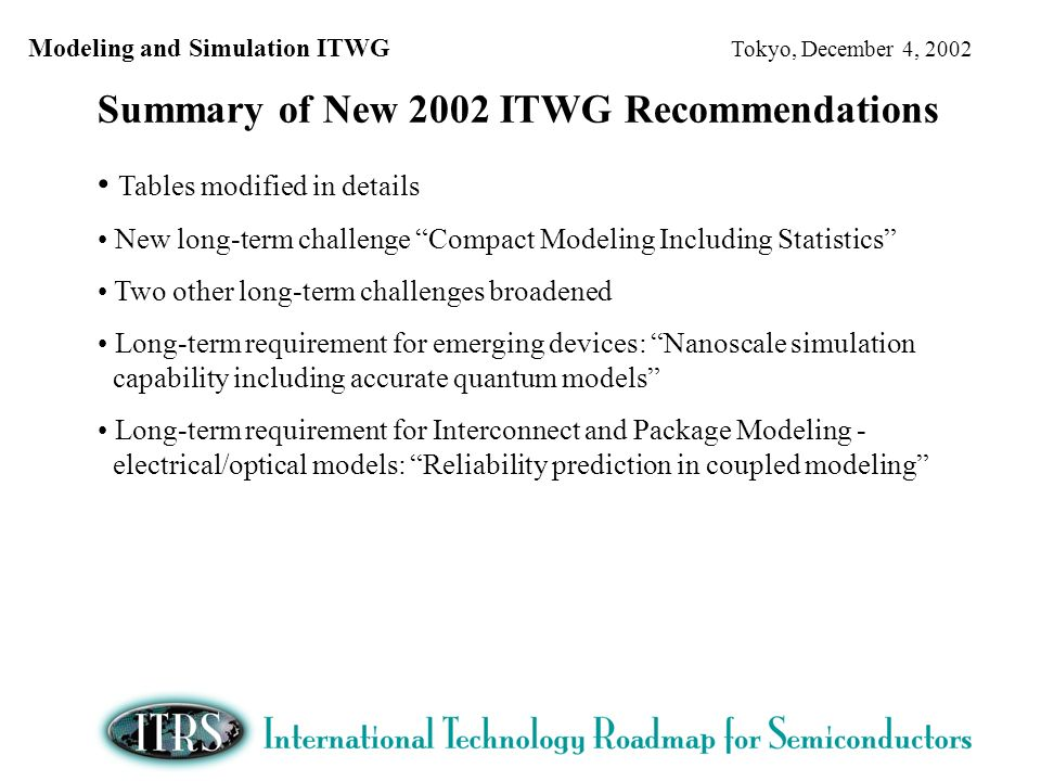 Modeling and Simulation ITWG Tokyo, December 4, 2002 Summary of New 2002 ITWG Recommendations Tables modified in details New long-term challenge Compact Modeling Including Statistics Two other long-term challenges broadened Long-term requirement for emerging devices: Nanoscale simulation capability including accurate quantum models Long-term requirement for Interconnect and Package Modeling - electrical/optical models: Reliability prediction in coupled modeling