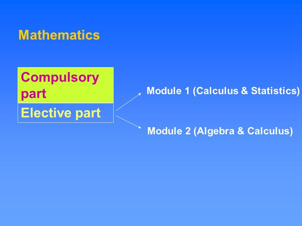 Mathematics Module 1 (Calculus & Statistics) Module 2 (Algebra & Calculus) Compulsory part Elective part
