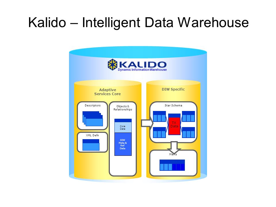 ISO TC184/SC4 Kalido – Intelligent Data Warehouse Adaptive Services Core Descriptors Objects & Relationships Core Data XML Defn DIW Meta & Ref Data DIW Specific Star Schema TX Data Marts Dynamic Information Warehouse