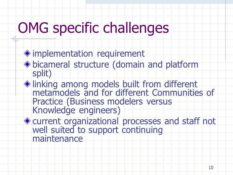10 OMG specific challenges implementation requirement bicameral structure (domain and platform split) linking among models built from different metamo